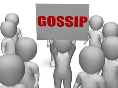 gossip board character means secret whispering and rumouring - stock illustration