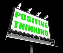 Positive thinking sign refers to optimistic contemplation Stock Illustration