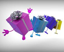 Presents mean give and receive gifts for special occasion Stock Illustration