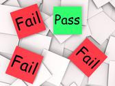 Stock Illustration of pass fail post-it notes mean approved or unsuccessful