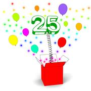 number twenty five surprise box means beautiful creativity and surprise - stock illustration