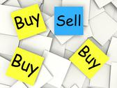 Stock Illustration of buy sell post-it notes mean sellers and consumers