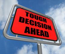 tough decision ahead sign means uncertainty and difficult choice - stock illustration