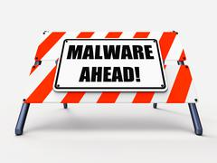 Malware ahead refers to malicious danger for computer future Stock Illustration
