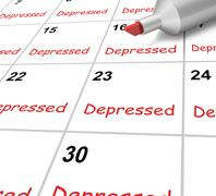 Depressed calendar means down despondent or mental illness Stock Illustration