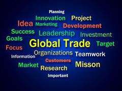 Global trade brainstorm means planning for international commerce Stock Illustration