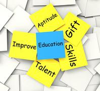 education post-it note shows talent skills and improving - stock illustration