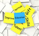 Stock Illustration of education post-it note shows talent skills and improving