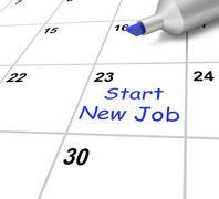 Uuden työn aloittaminen kalenteri merkitsee alkaa työsopimus Piirros