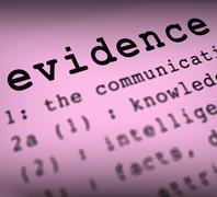 Evidence definition means crime scene investigation and police report Stock Illustration