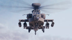 Stock Video Footage of Apache helicopter flying