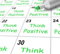 think positive calendar means bright outlook and optimistic - stock illustration