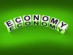 Economy blocks show monetary and economic predictions Stock Illustration