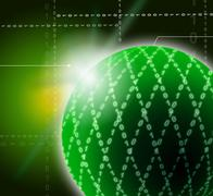 Green ornamented sphere background shows geometrical art and digital design Stock Illustration