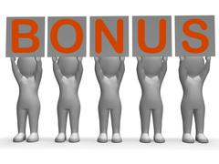 Stock Illustration of bonus banner shows promotional gifts and rewards