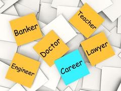 career post-it note means occupation and employment - stock illustration