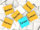 Stock Illustration of career post-it note means occupation and employment
