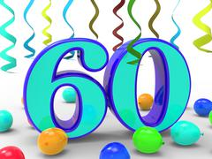 Number sixty party means garland decoration or bright balloons Stock Illustration