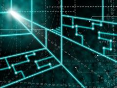 Laser circuit background means light beams or shining lasers Stock Illustration