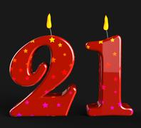 Stock Illustration of number twenty one candles mean adult celebration or party