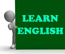 Learn english sign shows foreign language teaching Stock Illustration