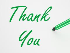 thank you on whiteboard means gratitude and appreciation - stock illustration