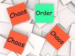 Order chaos post-it notes mean orderly or chaotic Piirros