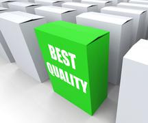 Best quality box represents premium excellence and superiority Stock Illustration