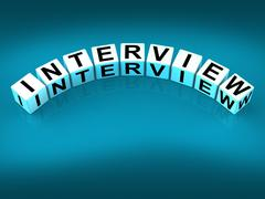 Interview blocks mean conversation or dialogue when interviewing Stock Illustration