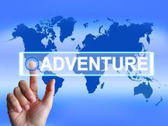 adventure map represents international or internet adventure and enthusiasm - stock illustration