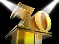 Golden seventy on pedestal means honourable mention or excellence Stock Illustration