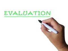 Evaluation word means assess interpret and judge Stock Illustration