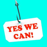 Yes we can! on hook shows teamwork and optimism Stock Illustration