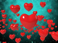 heart balloons on background shows high in love or passionate romance - stock illustration