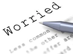 Worried word means troubled bothered or distressed Stock Illustration