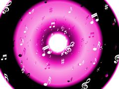 Musical notes background shows musical wallpaper or digital art Stock Illustration