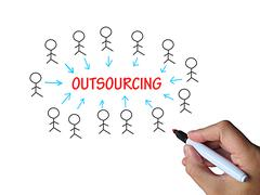 outsourcing on whiteboard means subcontracted employer or freelancer - stock illustration
