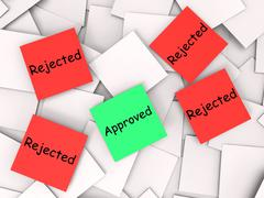 approved rejected post-it notes shows accepted or refused - stock illustration
