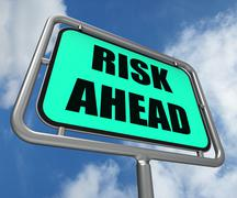 Risk ahead sign shows dangerous unstable and insecure warning Stock Illustration
