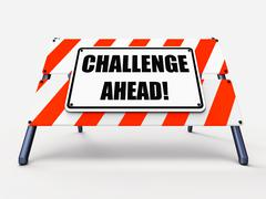 Challenge ahead sign shows to overcome a challenge or difficulty Stock Illustration