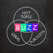 buzz words show publicity and viral hot topic - stock illustration