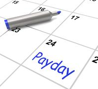 payday calendar shows salary or wages for employment - stock illustration
