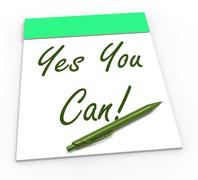 yes you can notepad shows self-belief and confidence - stock illustration