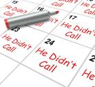 Stock Illustration of he didnt call calendar means disappointment from love interest