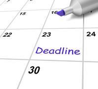 deadline calendar means target and due date - stock illustration