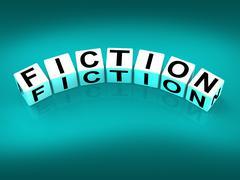 Fiction blocks show fictional tale narrative or novel Stock Illustration