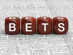 Bets dice mean gambling risk and betting Stock Illustration