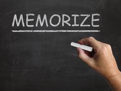 Memorize blackboard shows learn information by heart Stock Illustration