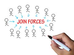 Stock Illustration of join forces on whiteboard shows united strength and power