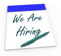 We are hiring notepad shows recruitment and apply now Stock Illustration